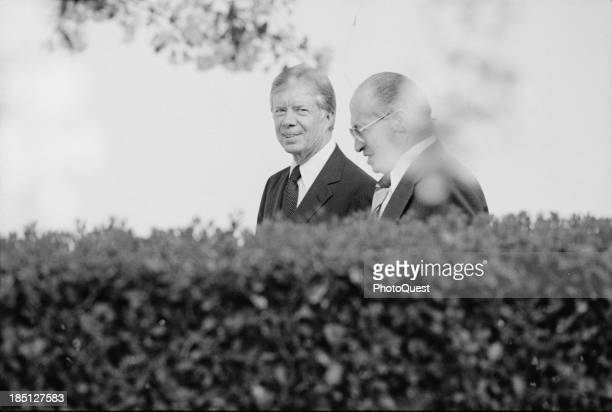 April 15 1980 President Jimmy Carter and Israeli Prime Minister Menachem Begin at the White House Washington DC
