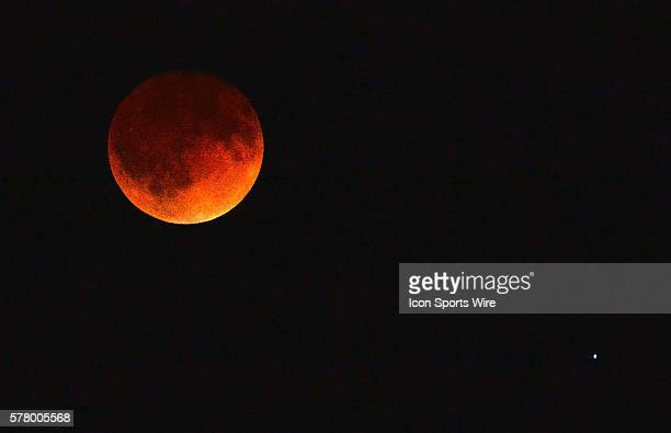 The moon glows a dull red at the height of a total lunar eclipse as seen from St Louis Mo early Tuesday morning The eclipse known as a