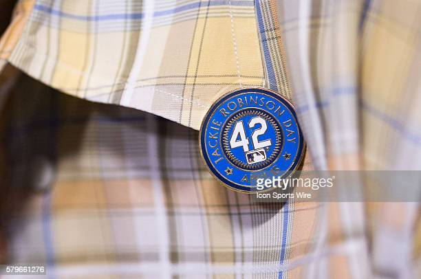 April 15 2015 A general view of a number 42 Jackie Robinson pin during the game between Seattle Mariners and Los Angeles Dodgers at the Dodgers...