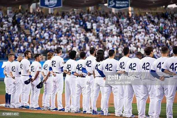 April 15 2015 LA Dodgers stand during the National Anthem before the game between Seattle Mariners and Los Angeles Dodgers at the Dodgers Stadium in...