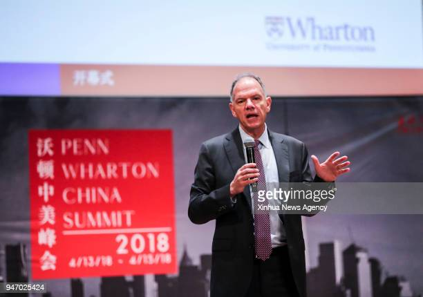 Geoffrey Garrett dean of the Wharton School at the University of Pennsylvania delivers a speech during the opening ceremony of the Penn Wharton China...