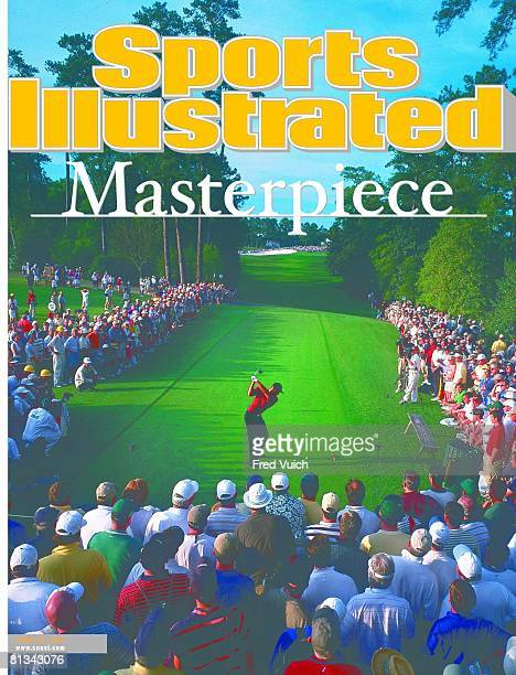April 16 2001 Sports Illustrated via Getty Images Cover Golf The Masters Rear view of Tiger Woods in action drive from tee on No 18 during Sunday...