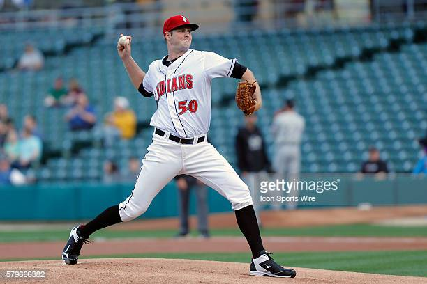 Indianapolis Indians pitcher Chris Volstad brings the pitch to the plate during the game between Louisville Bats and Indianapolis Indians at Victory...