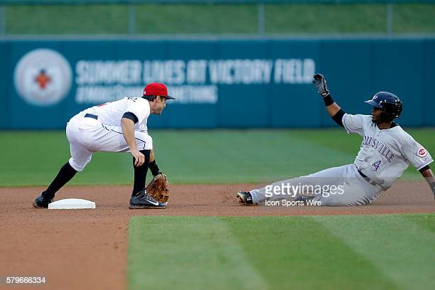 Indianapolis Indians shortstop Steve Lombardozzi drops the ball allowing Louisville Bats third baseman Irving Falu to slide safely into second during...