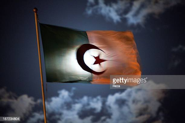 April 16th Algeria Algerian flag waving over the City Hall of Oran