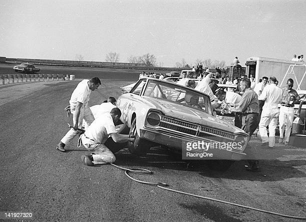 Richard Petty makes a pit stop during the Gwyn Staley Memorial 400 NASCAR Cup race at North Wilkesboro Speedway Petty went on to finish 11th in the...