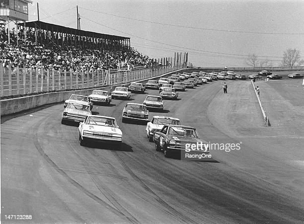 The field gets set for the start of the Gwyn Staley 400 NASCAR Cup race at North Wilkesboro Speedway Jim Paschal won the pole in Tom Friedkin's 1966...