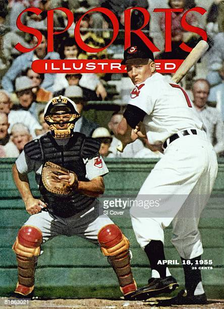 April 18 1955 Sports Illustrated Cover Baseball Cleveland Indians Al Rosen in action at bat during spring training View of catcher coah Bill Lobe...