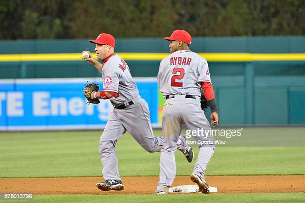 April 18, 2014 - Detroit, MI Los Angeles Angels third baseman John McDonald gets a force out at second and runs down Detroit Tigers designated hitter...