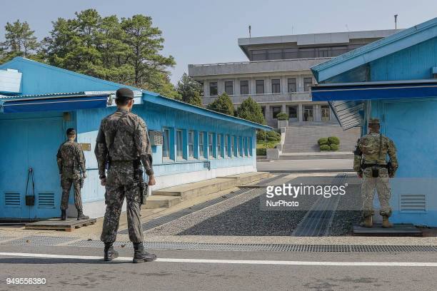 April 18 2018Pamunjom South KoreaA Joint Security Area UNC soldiers stand guard before the military demarcation line during a press tour to the...