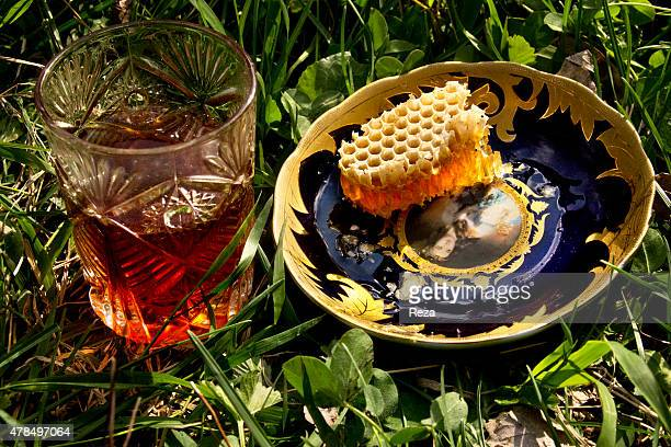 April 18 Sheki Mountain Azerbaijan A beekeeper in Sheki mountains serves black tea and fresh honeycomb to guests