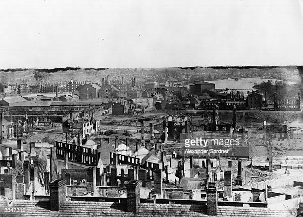 The ruins of Richmond Virginia the Confederate capital after it was burned down by its own residents to thwart the oncoming advance of Union General...