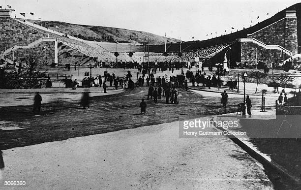 Crowds in and around the Olympic Stadium in Athens, during the first modern Olympic Games.