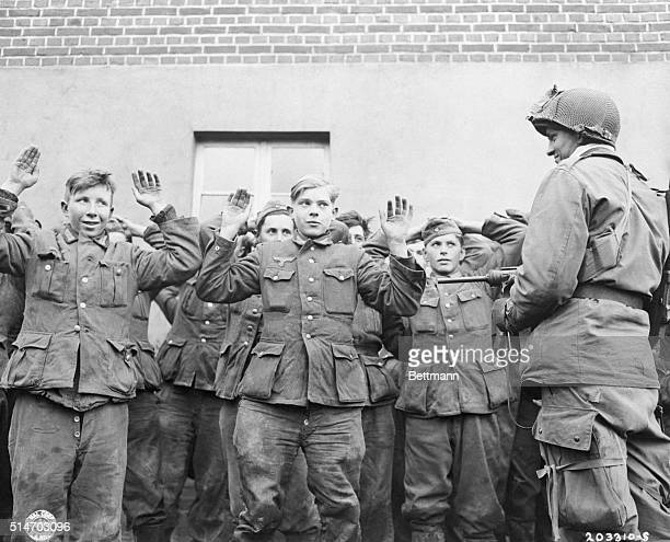 April 19 1945 Germany Private Herbert Norman MP of 1st Allied Airborne 19th Glider Infantry Regiment brought in these young Nazi Prisoners aged...