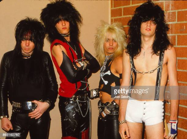 SAN FRANCISCO April 19 1982 Motley Crue in the band's second visit to the city poses backstage April 19 1982 at the Old Waldorf in San Francisco Left...
