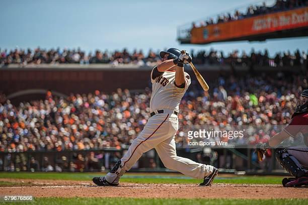San Francisco Giants third baseman Casey McGehee at bat and following the trajectory of the ball during an MLB baseball game between the San...
