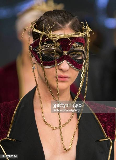 TORONTO April 19 2018 A model presents a creation by Stevie Crowne during the 2018 Fashion Art Toronto event in Toronto Canada April 18 2018 With the...