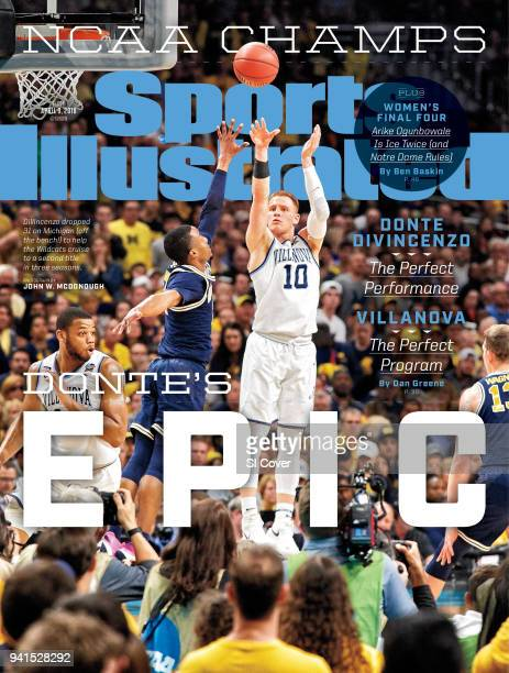 April 19 2018 Sports Illustrated via Getty Images Cover NCAA Finals Villanova Donte DiVincenzo in action three point shot vs Michigan at Alamodome...
