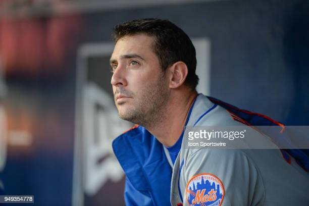 New York starting pitcher Matt Harvey looks on from the dugout during a game between Atlanta and New York on April 19 2018 at SunTrust Park in...