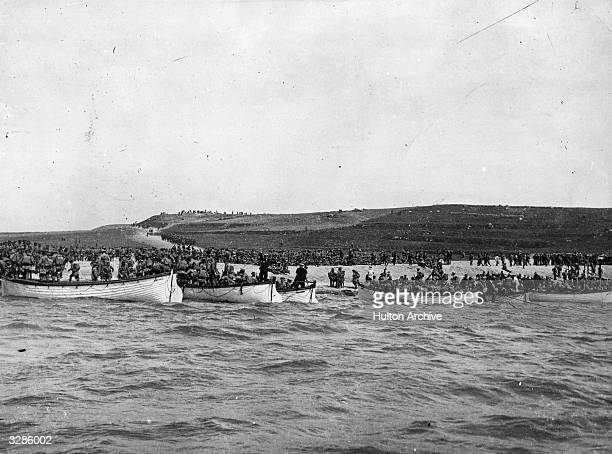 Practice landings on the Turkish coast by the Ausralian Imperial Forces in preparation for the Anzac landings on the 25th April 1915