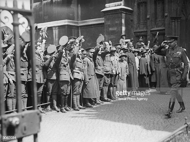 Lord Kitchener saluting soldiers on Anzac Day.