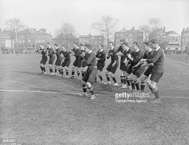 The New Zealand Rugby Union team the All Blacks perform an intimidating Maori war dance or haka before a match against South Africa in Richmond Surrey