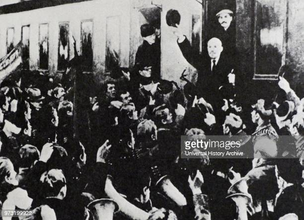 April 1917 Vladimir Lenin arrives at Finland Station in St Petersburg after returning from exile to lead the Bolsheviks in the coming October...