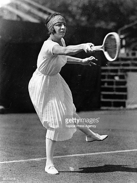 French tennis player Suzanne Lenglen in action.