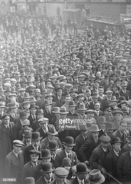 Crowd of Chelsea supporters.