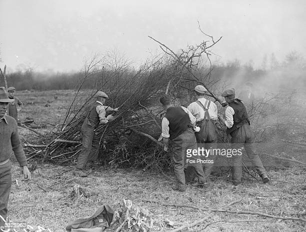 Burning brushwood at a Ministry of Labour training camp Kettering