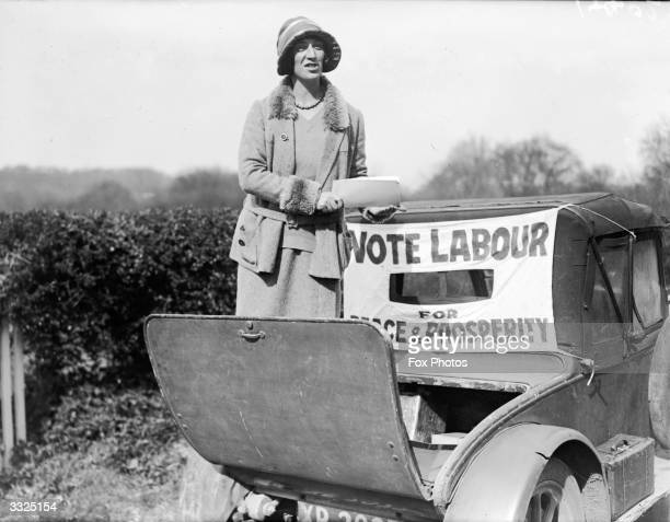 The Petersfield Labour Party candidate Miss Massingham canvassing for votes