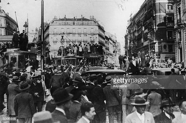 Crowds in Puerta de Sol Madrid after the Republican victory in the 1931 elections which resulted in the declaration of the second republic and the...