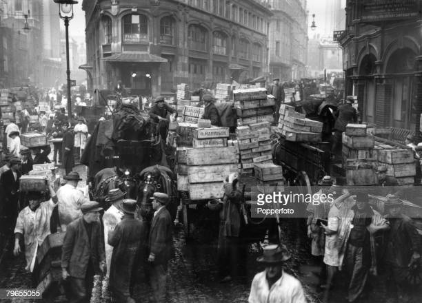 April 1935 London A bustling scene in central London at Billingsgate fish market