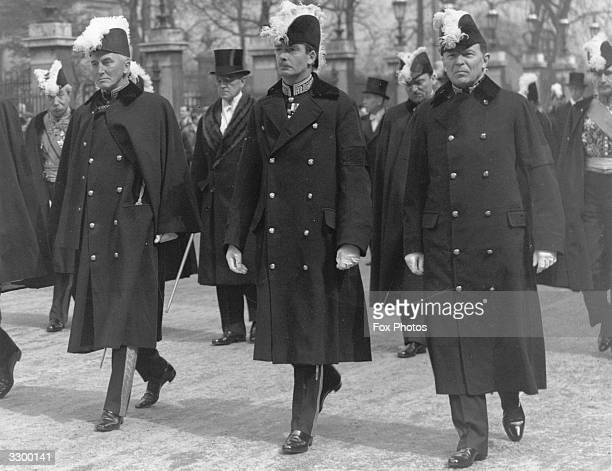 British statesman Anthony Eden following the coffin of the German Ambassador in London Herr Von Hoesch accompanied by Sir John Sinum and Sir Robert...