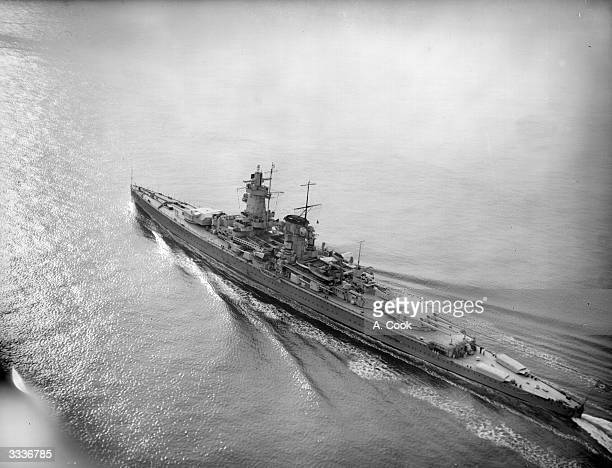 The German pocket battleship 'Graf Spee' en route for Spanish waters