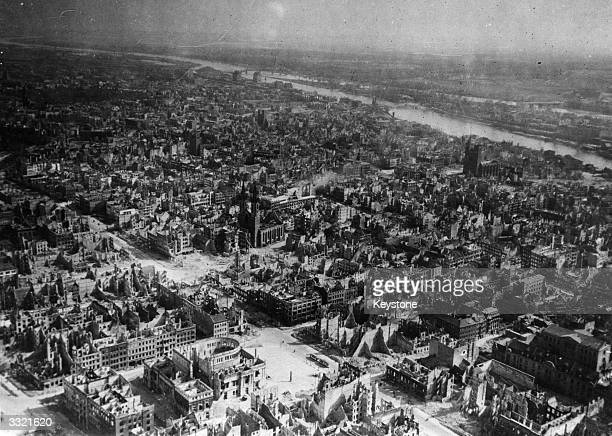 The devastated city of Magdeburg on the Elbe after heavy Allied bombing The cathedral survived largely intact