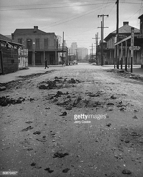 Poorly maintained street in the slum areas in the central part of New Orleans.