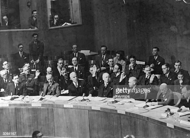 The Security Council of the United Nations which voted by 9 votes to 2 to reject the Soviet demand that the Council recognize the Iranian dispute as...