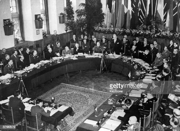 The US secretary of defence Louis Johnson addresses the meeting of the North Atlantic Defence Ministers at The Hague. The ministers have announced...