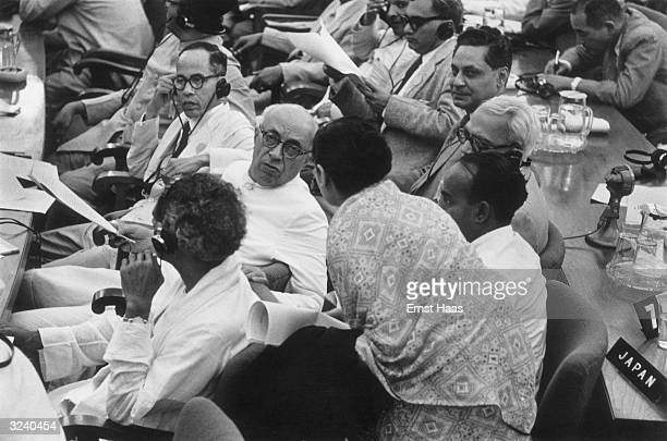 Indian prime minister Jawaharlal Nehru attends the Bandung Conference in Indonesia where he delivered an address