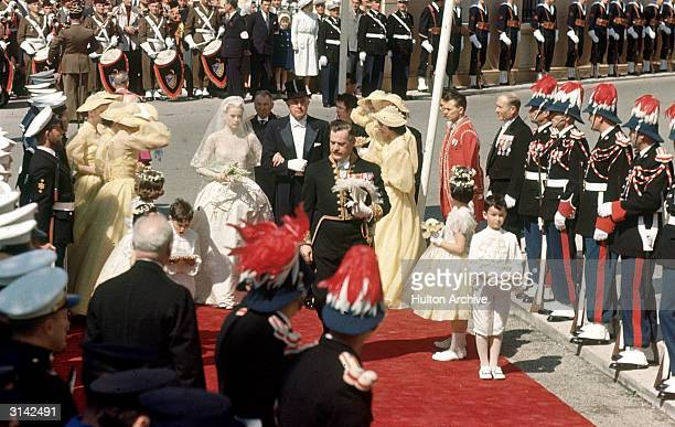 American actress Grace Kelly arrives at Monaco Cathedral for her wedding to Prince Rainier III of Monaco