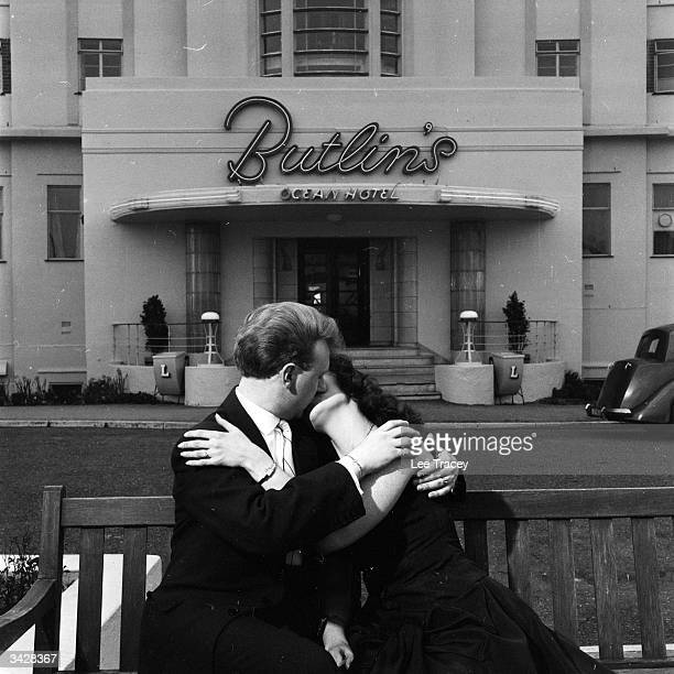 A honeymooning couple at Billy Butlin's Ocean Hotel in Saltdean near Brighton in Sussex