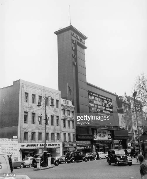 The Odeon Cinema in London's busy Leicester Square which is showing 'Imitation of Life' starring Lana Turner and John Gavin