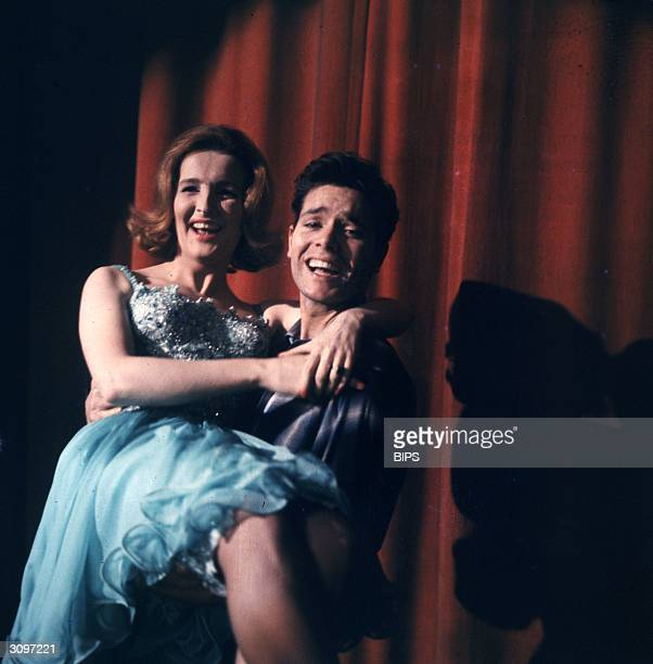 British teen idol Cliff Richard at the BBC television studios with actress Millicent Martin