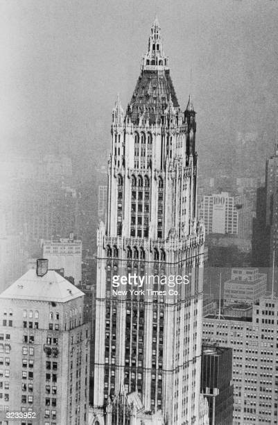 View of the tower of the Woolworth Building at 233 Park Place and Barclay Street in New York City Designed by Cass Gilbert it was completed in 1913