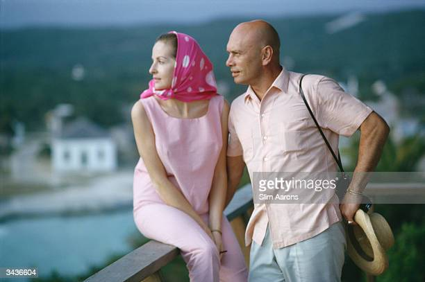 Film star Yul Brynner and his wife Doris Kleiner looking out over the Nassau Channel Bahamas