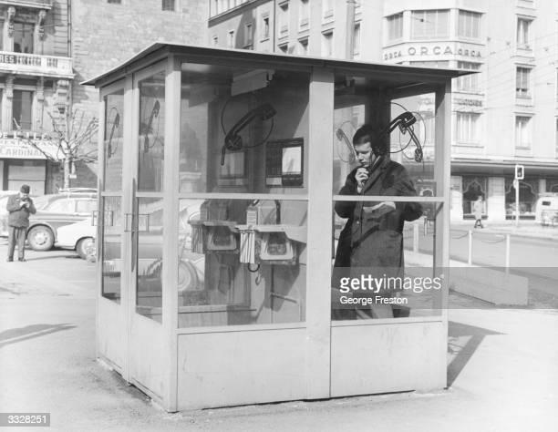 A public telephone box in Geneva Switzerland
