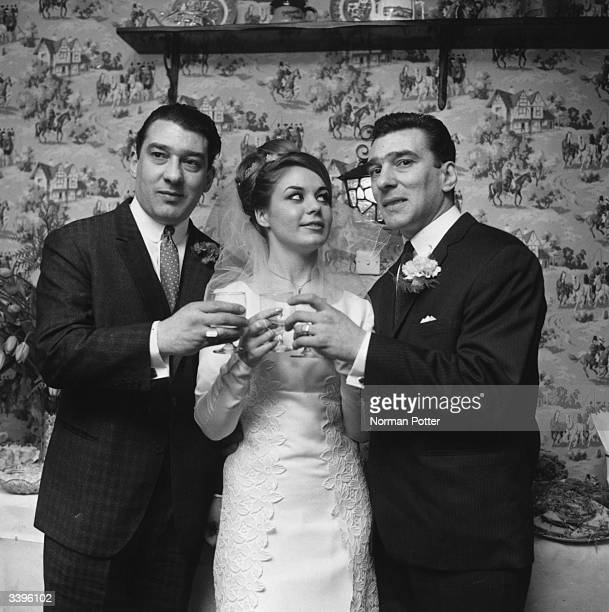 Frances Shae toasting to future happiness with the Kray twins after her marriage to Reggie Kray right