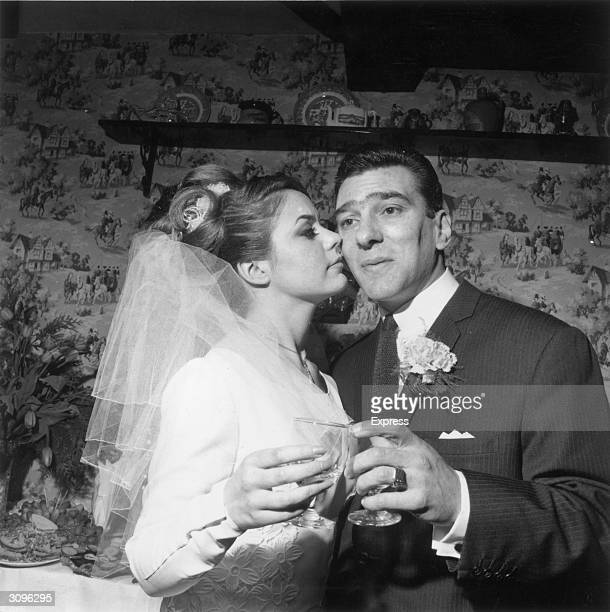 Reginald Kray one of the infamous Kray twins celebrates his marriage to Frances Shae at Bethnal Green London