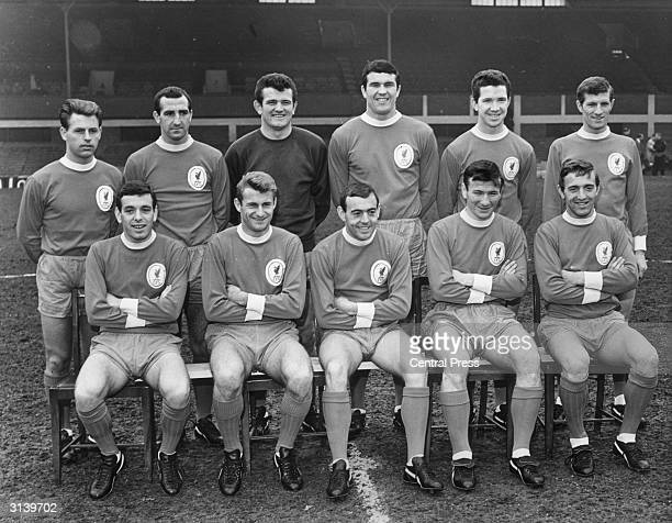 The Liverpool FC team which is to play in the FA Cup final Gordon Milne Gerry Byrne Tommy Lawrence Ron Yeats Chris Lawler and Willie Stevenson Ian...